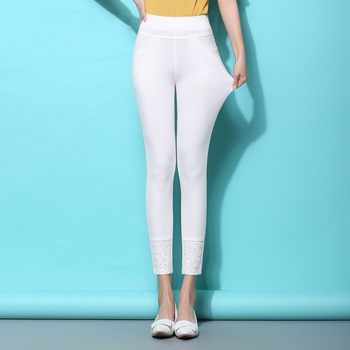2017 summer high waist tight fitting elastic skinny pants female ankle length trousers white laciness legging thin 701