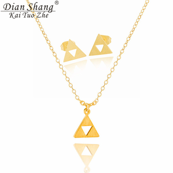 DIANSHANGKAITUOZHE Stainless Steel Jewelry Sets Gold Colour Earrings For Women Silver Charms Geometric Triangle Collier Necklace