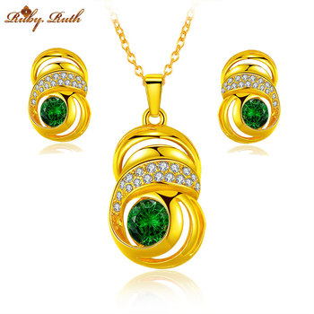 Jewelry sets african bridal Gold Color plated necklace earrings dubai jewellery wedding sieraden women crystal perhiasan set
