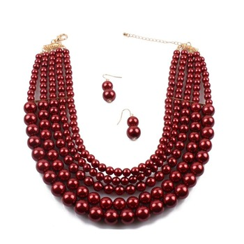 Wedding Simulated Pearl Jewelry Set For Women Party Multilayer Simulated Pearl Bead Women Necklace Earrings Set For Women