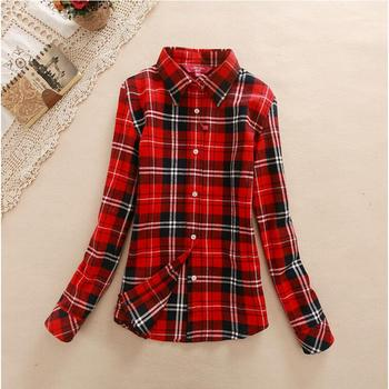 Women's Shirt Autumn Winter Ladies Female Casual Cotton Lapel Long-Sleeve Plaid Shirt Women Slim Outerwear Blouse Tops